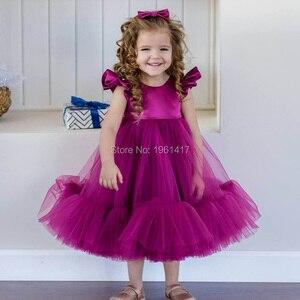 Вечерние платья для девочек, свадебные платья для принцесс, тюлевые платья для девочек, Крещение, Крещение, первый день рождения, бальное пл...