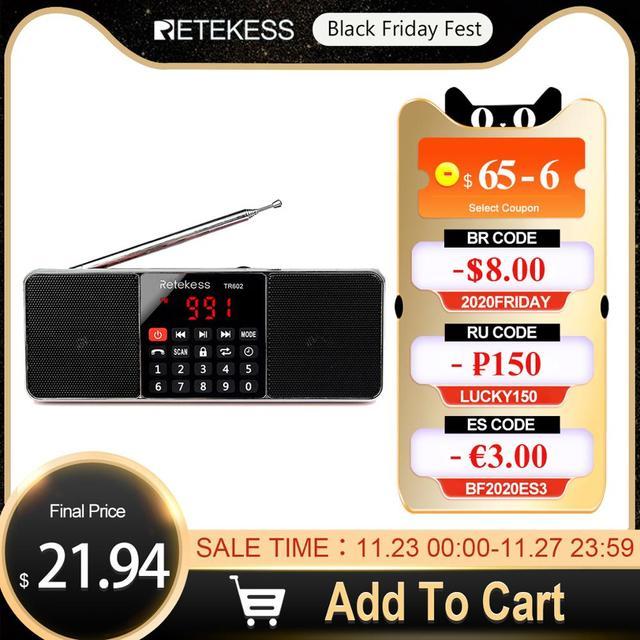RETEKESS TR602 Radio Bluetooth AM FM ricevitore Radio portatile Stereo con lettore MP3 Wireless supporto per altoparlanti TF Card Sleep Timer