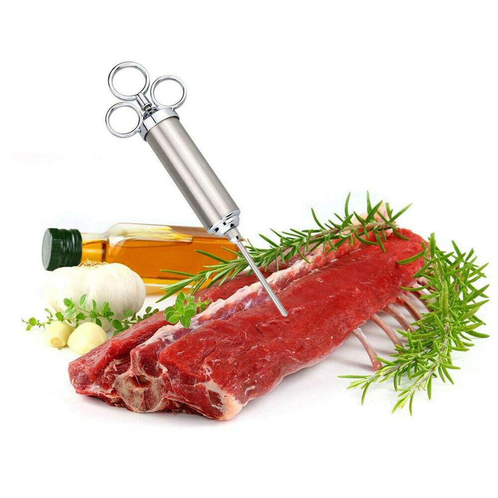Marinade Flavour Injector Syringe Seasoning Sauce Turkey BBQ Meat w// 5 Needles