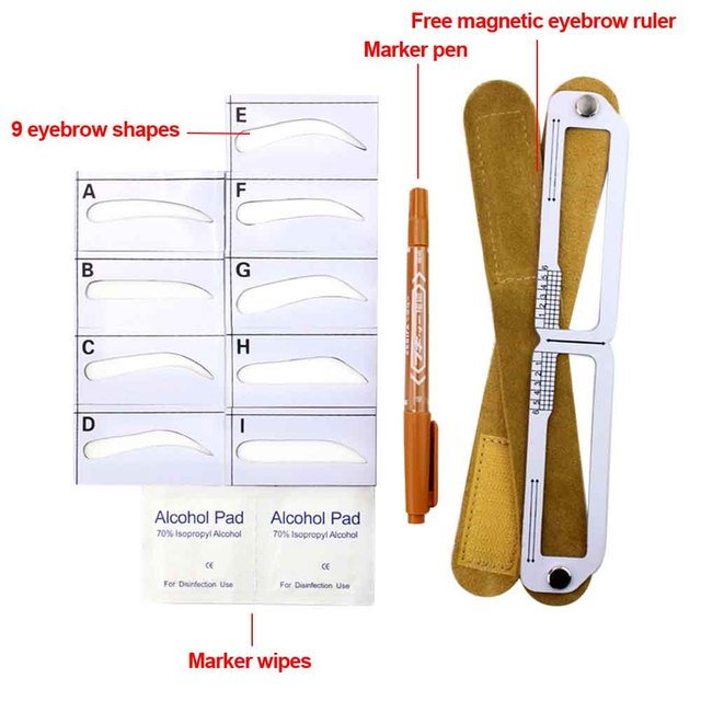 Home Salon Template Card Grooming Gift For Beginners Makeup Tool Measuring Semi Permanent Eyebrow Stencil Set Magnetic Ruler 3