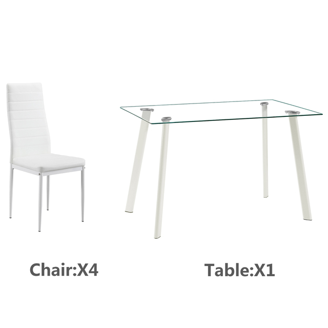 5 Piece White Dining Table Set  2