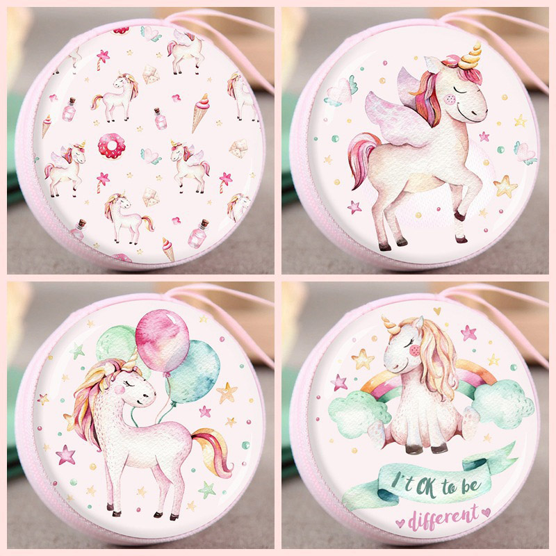 Cute Flamingo Unicorn Flower Print Cartoon Anime Coin Purse Kids Children'S Toys Coin Storage Girls Small Gifts Coin Wallet Bag