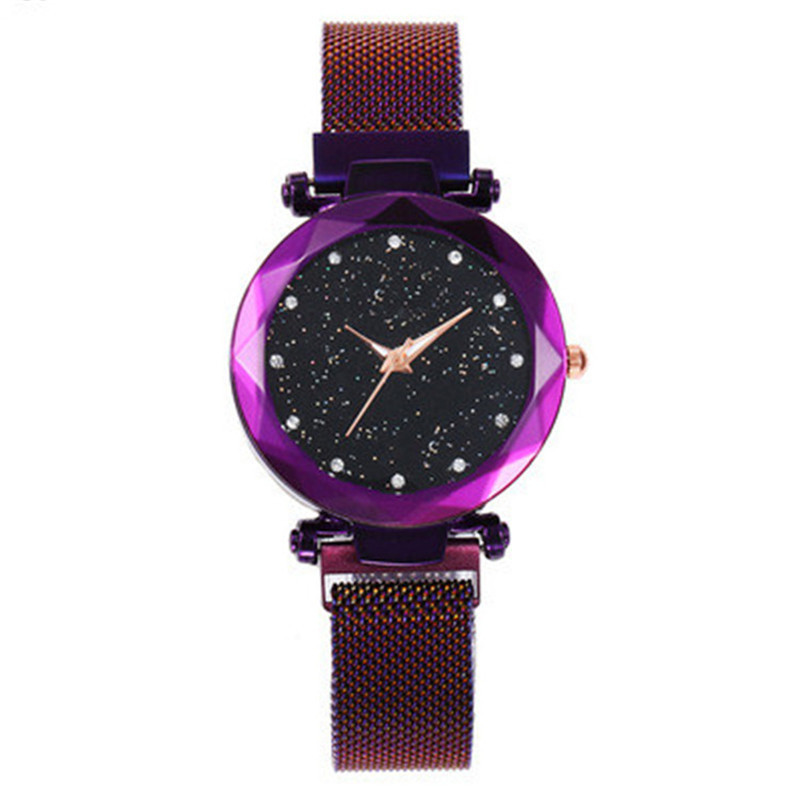 Womens Watches Luxury Magnetic Buckle Stainless Steel Strap Quartz Wristwatches Starry Crystal Watch Women Relojes Mujer 2020