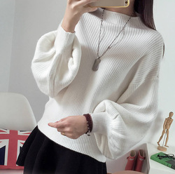 Fashion Loose Bat Sweater Women 2019 Autumn Puff Sleeve Knitted Sweater Women Pullover Slime Loose White half Turtleneck 6
