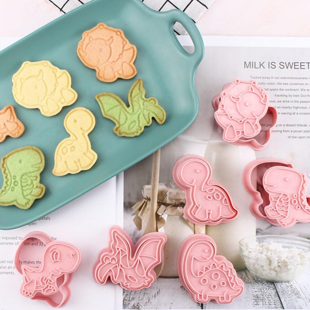 6pcs Dinosaur Shaped Cookie Cutter Mold 3D Biscuit Sugar craft Dessert Baking Mould Fondant Cake Decorating Tool