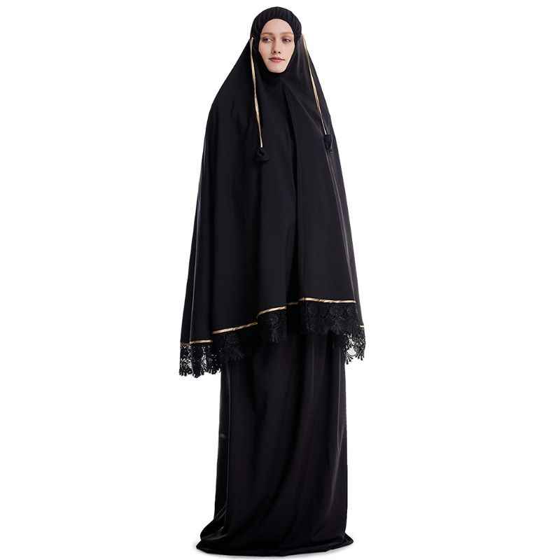 2 pces muçulmano feminino tradicional robe vestido dupla camada islâmicos conjuntos de oração