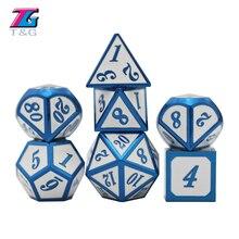 Schwere Polyhedral Metall Würfel Set mit Tasche, 7-sterben Glänzende Oberfläche mit Blau Anzahl für RPG, karte Spiel, TRPG und Mathematik Lehre