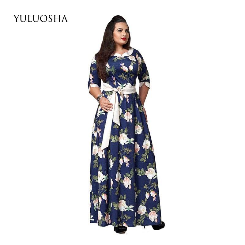 YULUOSHA Plus Size Formal Dresses Evening Gown O-Neck Ribbons A-Line Women Evening Dress Vestido Largo Fiesta Noche Elegante