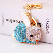 Full Crystal Lovely Rabbit Keychain Key Ring Rhinestone Trinket Bunny Chains Cars Purse Bag Pendant Women llaveros Chaveiro