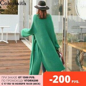 Image 1 - Colorfaith新 2020 秋冬の女性のセーター韓国スタイルミニマリスト固体多色カジュアルロングカーディガンSW8528