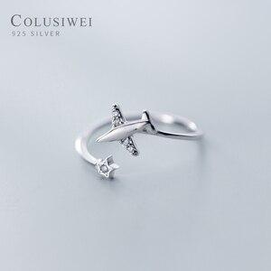 Женские кольца с открытым пальцем Colusiwei, из подлинного стерлингового серебра 925 пробы, регулируемые кольца из прозрачного кубического цирко...