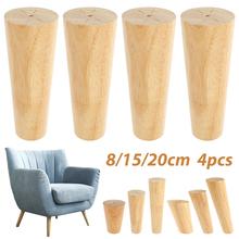 4Pcs Round Furniture Legs Height 8 15 20 cm Solid Wood Furniture Replacement Legs Furniture Tapered Table Sofa Stool Wooden Feet cheap CN(Origin) 200003310