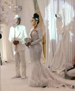 Image 2 - Charbel zoe Elie saab Yousef alijasmi Mermaid Wedding Dresses 2020 Long sleeve White Feather Bridal Dress Go Zuhair Kylie Jenner