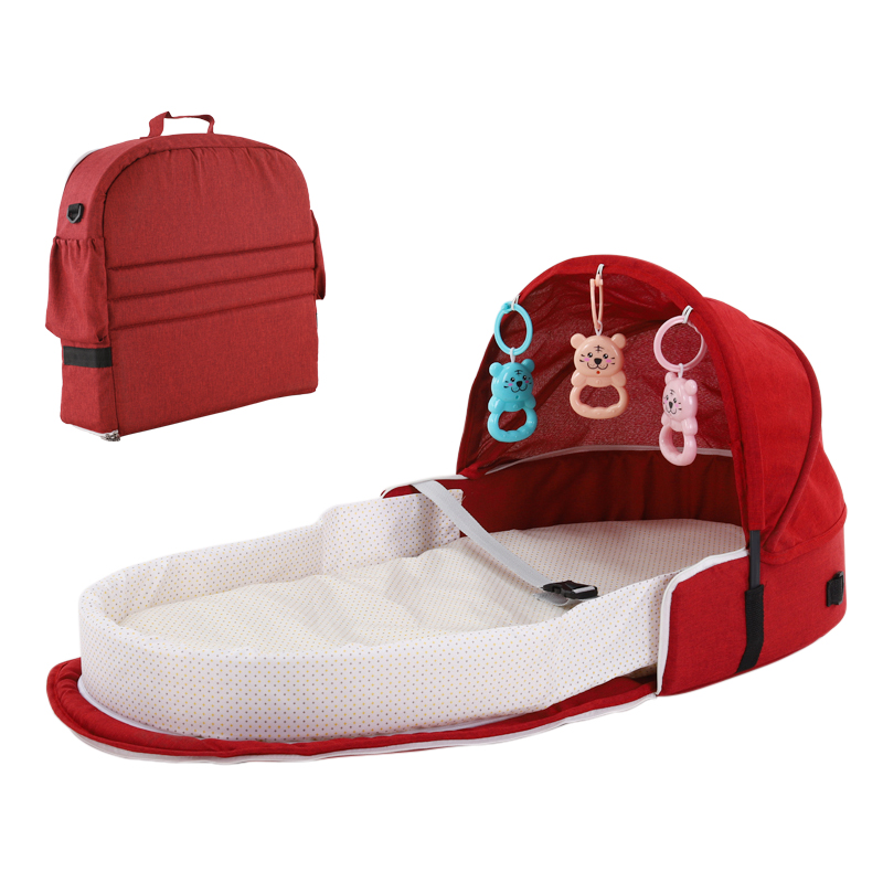 Portable Bassinet For Baby Bed With Toy Dable Baby Bed Travel Sun Protection Breathable Infant Sleeping Basket With Toys Bed Bag