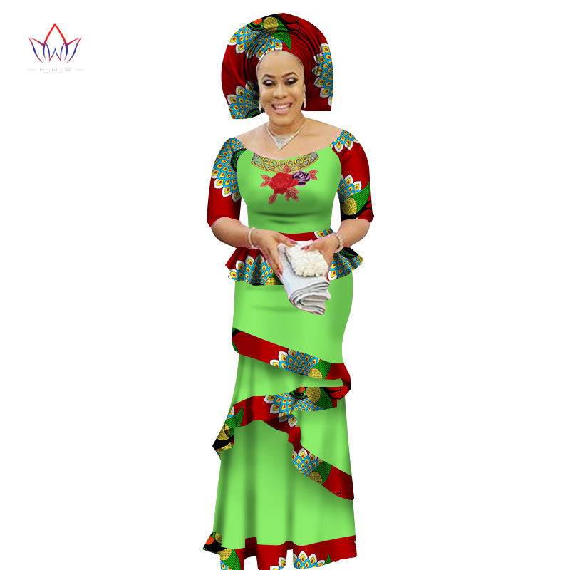 BRW Private Custom African Dress Bazin Riche Women Dress Suit Half Sleeve Tops And Long Print Skirt Large Size M-6XL WY2412