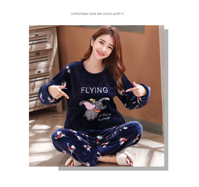 Long Sleeve Warm Flannel Pajamas Winter Women Pajama Sets Print Thicken Sleepwear Pyjamas Plus Size 3XL 4XL 5XL 85kg Nightwear 373