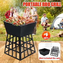 Outdoor Garden Metal Charcoal Fire Pit 500°C Camping Fishing BBQ Burner Bowl Multifunction Removable Stove Barbecue Grill Stand