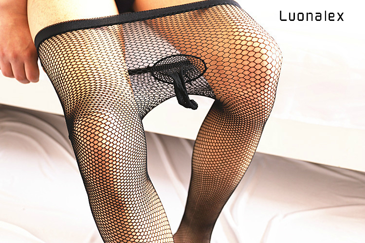 Luonalex Exotic Lingerie Popular Men's Sexy Mesh Pantyhose With Cock Sheath Tights Stockings Male Tights Fishnet Hosiery