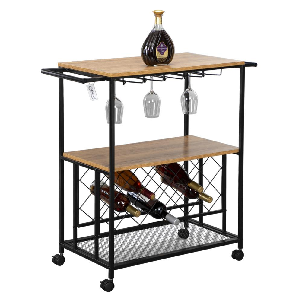 Bar Wine Rack Cart Kitchen Food Truck Serving Buffet Sideboard With Wine Rack Glass Multi Function Cart Three Tier Holder