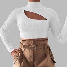 2019 Women Sexy Hollow Slim Fit Long Sleeve Shirt Black Whit