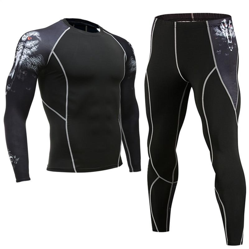 Mens Sports Running Set Compression T-Shirt + Pants Skin Tire Long Sleeves Fitness Rashguard MMA Training Clothes Gym Yoga Suits