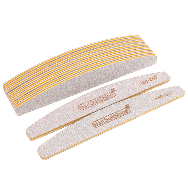 7Pcs Nail File Lime A Ongle Professionel 180/240 Grit  Sanding Block Grey Sandpaper Nagel Vijl Yellow Acrylic Manicure Nail File