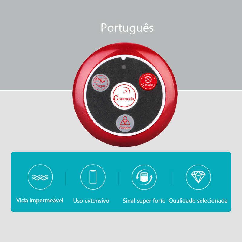 Retekess-buscapersonas T117 con botón de llamada portugués, buscapersonas inalámbrico, sistema de llamada de camarero, equipos de restaurante, Catering, 10 Uds.