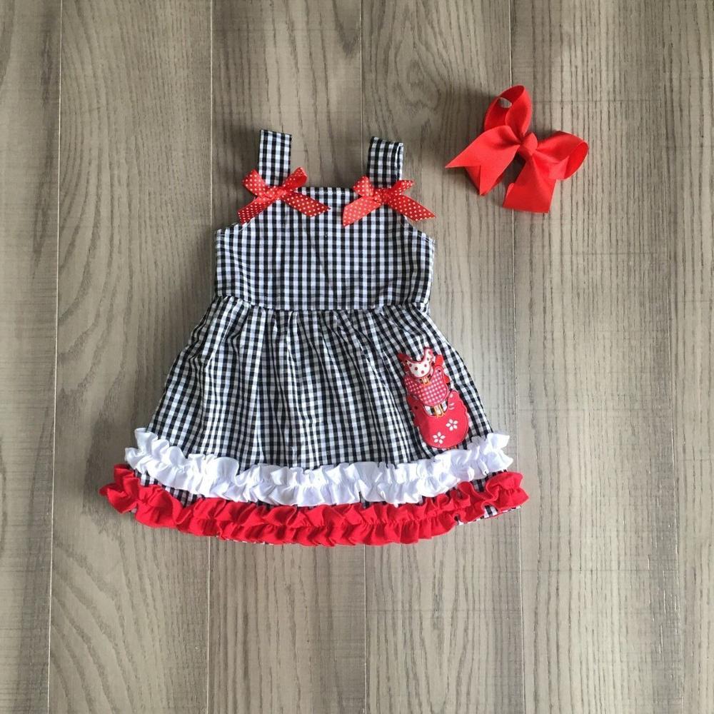 Baby Girls Summer Plaid Dress Girl Farm Dress Girls Chook Chicken Dress With Bow
