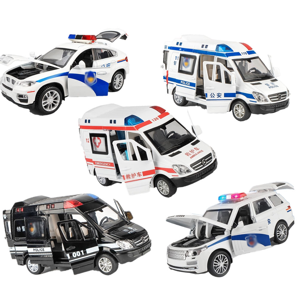 Toy Alloy Diecast Pull Back Model Cars Sound Light Ambulance Rescue Cars High Simulation Toys Vehicles Kids Christmas Gifts Boys