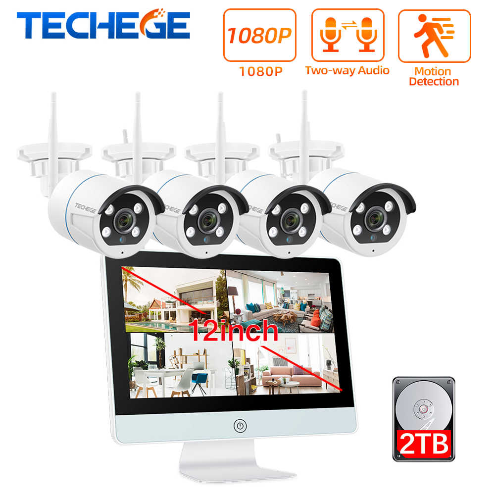 Techege 8CH 1080P zestaw CCTV 12 Cal LCD NVR bezprzewodowa kamera do monitoringu System 2MP dwukierunkowa kamera Audio WIFI Kit nadzór wideo