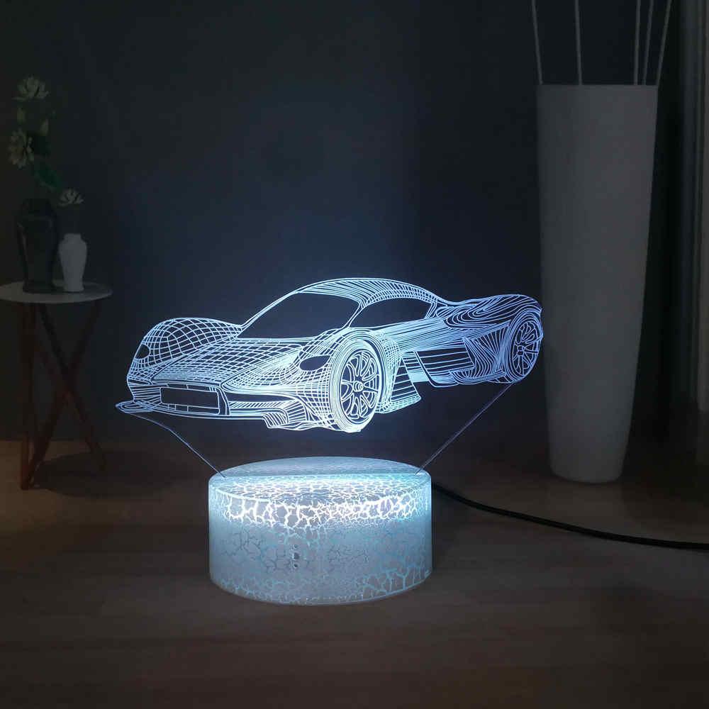 FERRARI CAR LOGO 3D Acrylic LED 7 Colour Night Light Touch Table Desk Lamp Gift