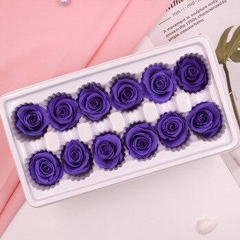 Eternal Class a Flower Head 3-4cm Rose Preservation Really gan hua shu Gift Box pei cai Wedding