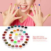 ANSELF 36pcs Mix Colors Professional UV Gel Set Builder Gel for Nail Varnish Glitter Powder UV Gel Nail Art Gel Polish Extension