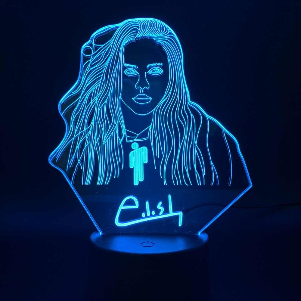 3D Illusion Led Nachtlampje Lamp Billie Eilish Figuur Slaapkamer Decor Bureaulamp Dropshipping 2019 Fans Gift Nachtlampje Celebrity