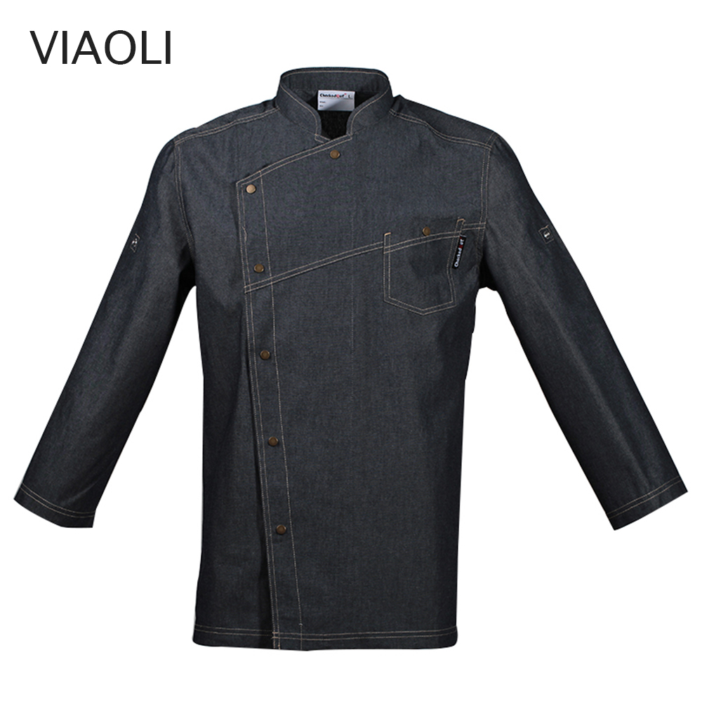 New Unisex Casual Blue Denim Fabric Chef Jackets Long Sleeve Kitchen Catering Restaurant Food Serive Hotel Uniform Chef Clothes