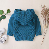 Newborn Hooded Jacket 2019 Autumn Winter Baby Boy Girl Long Sleeve Solid Color Bear Ear Hooded Sweater Coat for 0 24M