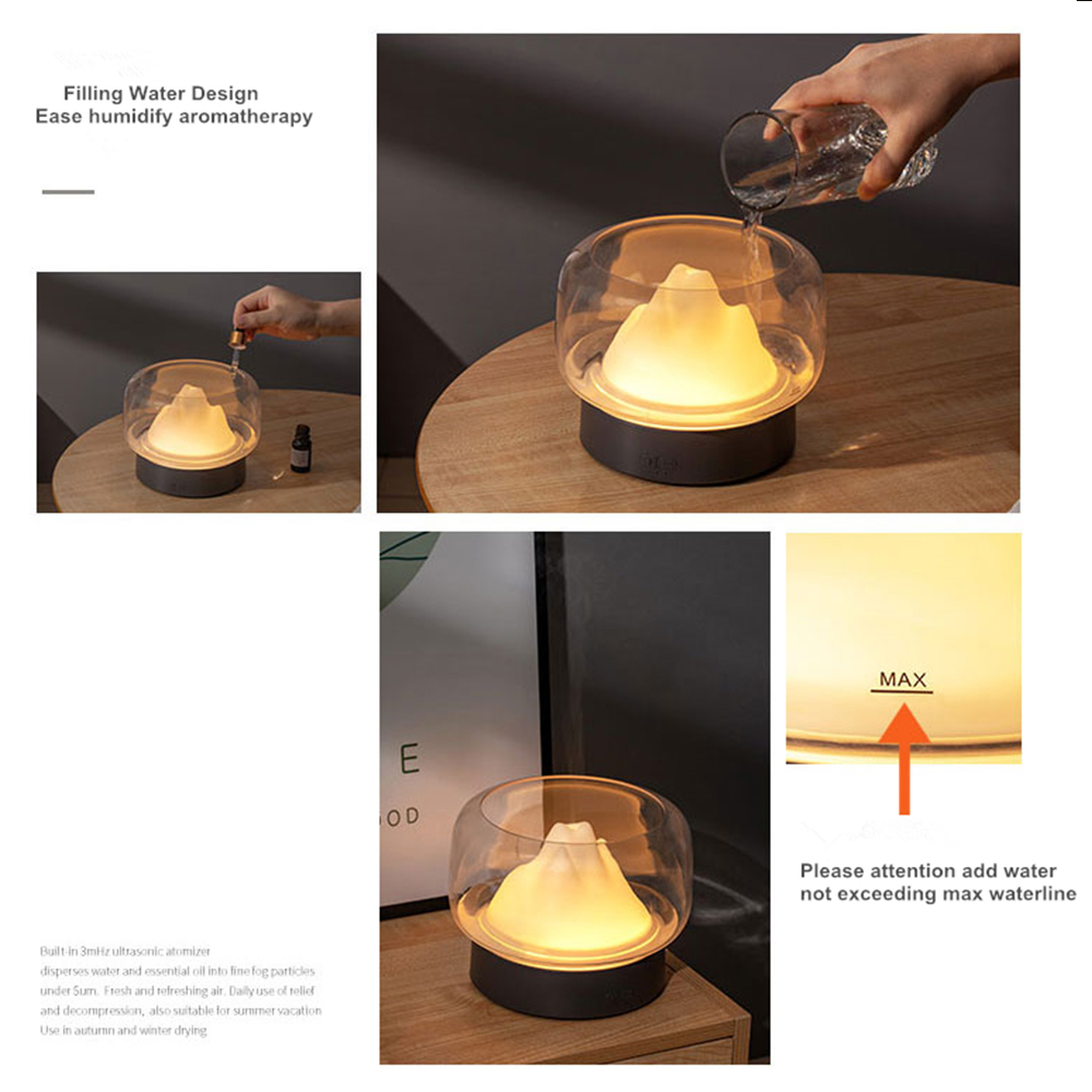 Image 4 - BPA Free Aroma Diffuser 400ML Moutain View Essential Oil Aromatherapy Difusor With Warm and Color LED Lamp HumidificadorHumidifiers   -