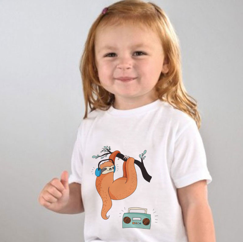 Lazy Sloth Hitching Ride On Alpaca Kids Cotton T-Shirt Basic Soft Short Sleeve Tee Tops for Baby Boys Girls