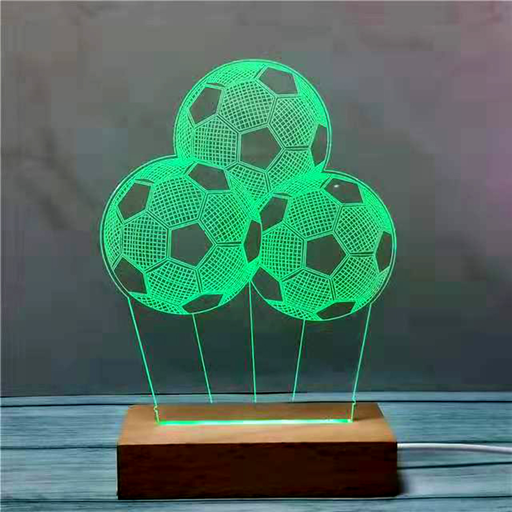 Three Footballs Shape 3D Lamp Led Table Lamp Bulb 3D Night Light Home Decor Lighting Cable Footballs 3D LED USB Mood Multicolor