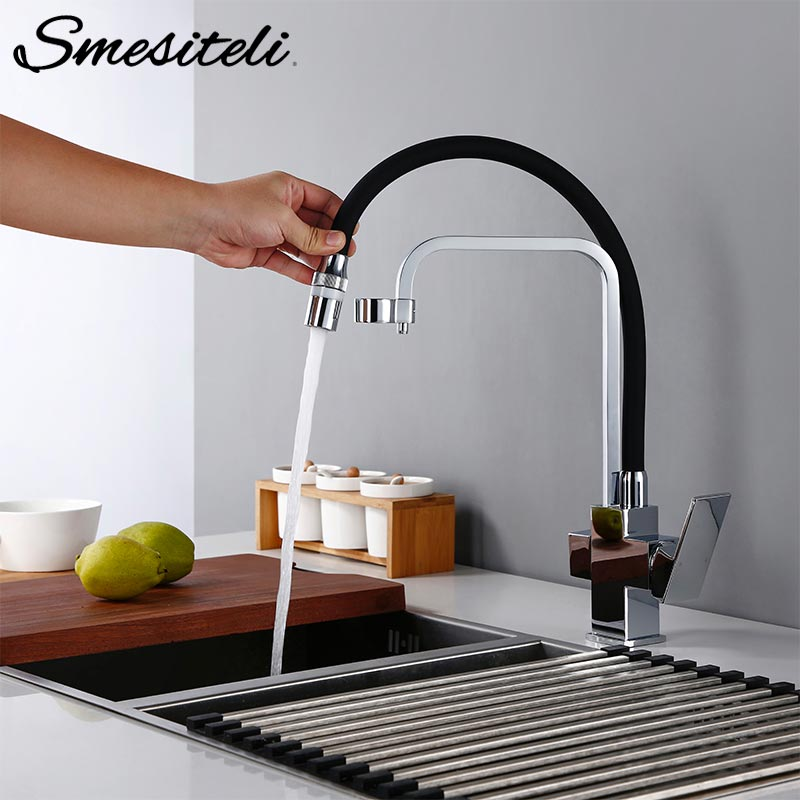 Smesiteli Black Chrome Kitchen Faucet  Mixer Hot And Cold Sink Faucet 360 Degree Rotation Kitchen Brass Mixer Taps