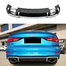 цена на A3 Rear Bumper Lip Diffuser With Exhaust Muffler Pipe for Audi A3 Standard Bumper 2014-2019 RS3 Style