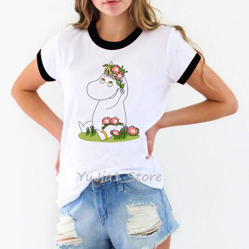 Little My Moomin Tshirt Women Harajuku Kawaii Animal Print White Tshirt Cute Top Female T-shirt Summer Clothes Funny T Shirts