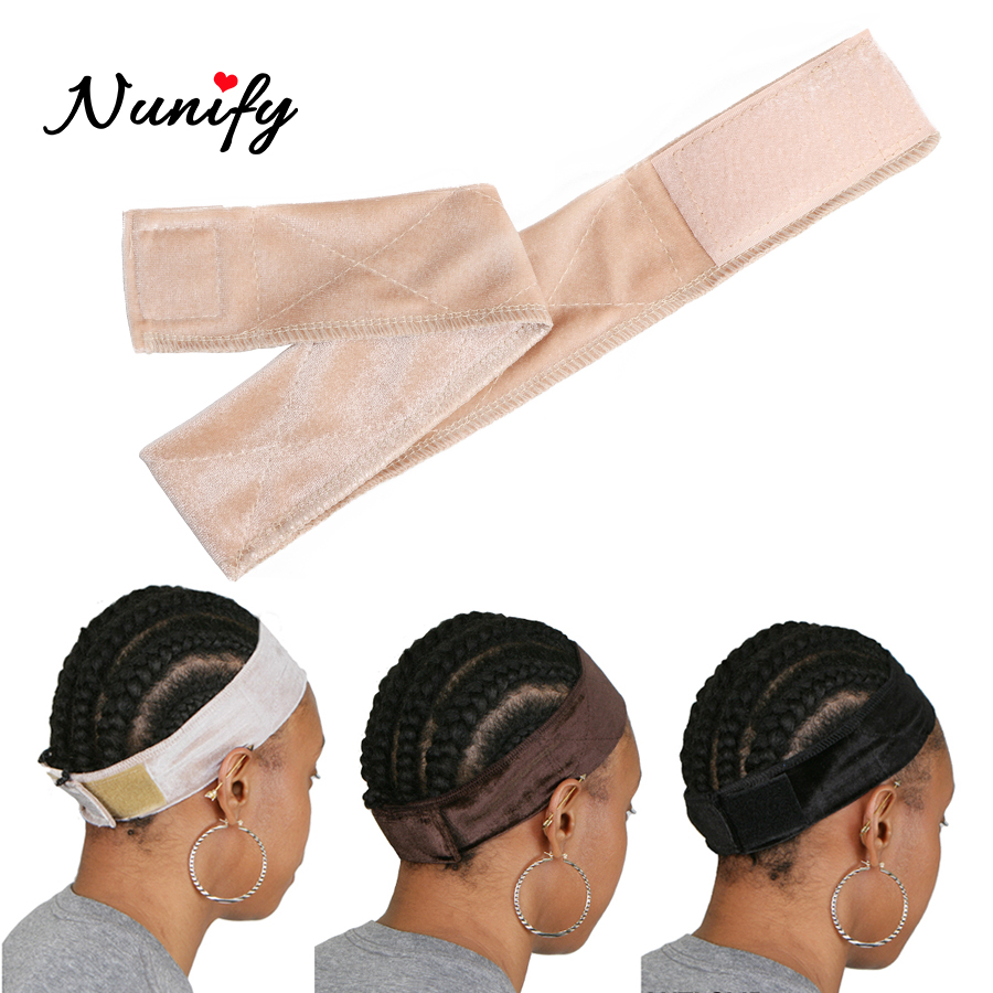 Nunify Wig Elastic Band Brown/Black/Blonde Hand Made Non-Slip Wig Grip Band With Double Sided Velvet Adjustable Wig Hair Band