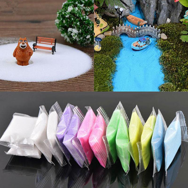Quartz Sand Fairy Garden Artificial Powder Mini Snow Micro Landscaping Decoration Craft Kids DIY Sand Table Accessories 24g/Pack