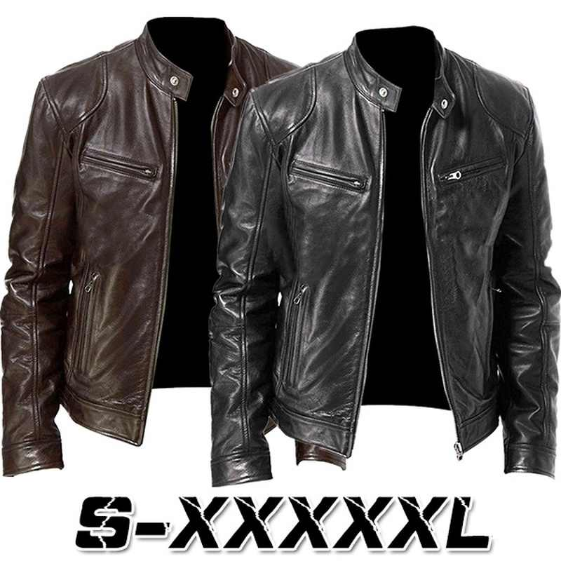 2019 New Fashion Men Vintage Cool Motorcycle Jacket Leather Long Sleeve Autumn Winter Coat Stand Collar Club Bomber Jacket