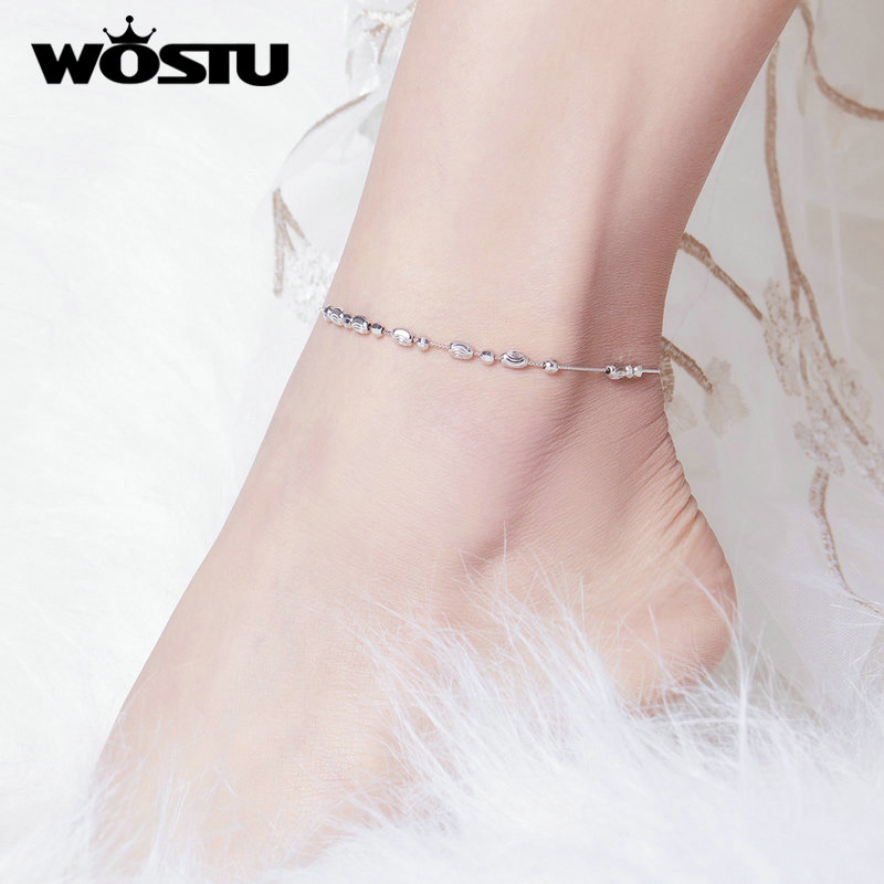 WOSTU Genuine 100% 925 Sterling Silver Anklet Little Ball Simple 26cm Anklet For Women Fashion Silver 925 Jewelry CQT010