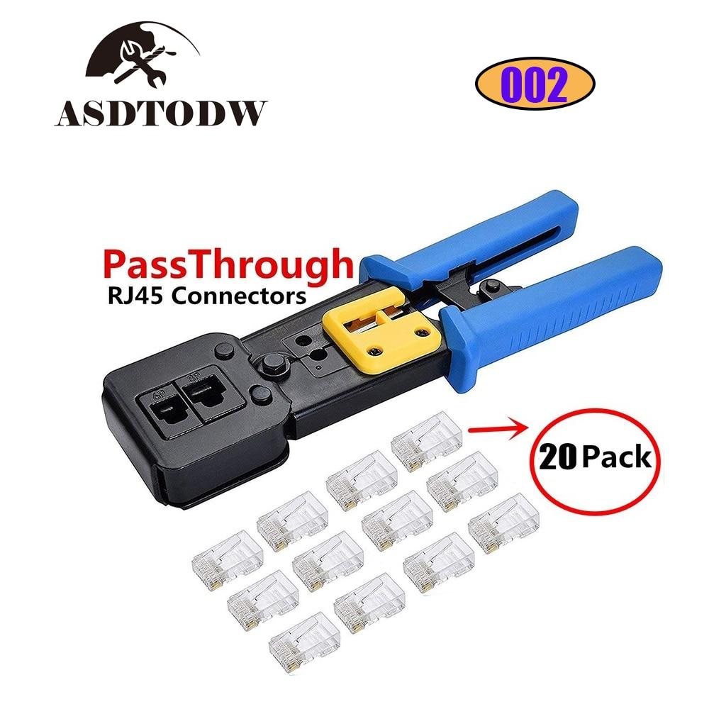 Ez Rj45 Crimp Tool For Cat 5 / Cat 6 Ez Pass- Through Connectors For Ethernet Cable Ratchet Ethernet Cable Crimping