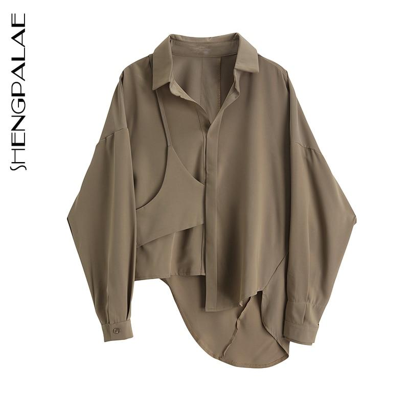 SHENGPALAE 2020 New Fashion Irregular Splice Shirt Female Tops Long Sleeve Casual Turn-down Collar Women's Loose Blouse ZA3269