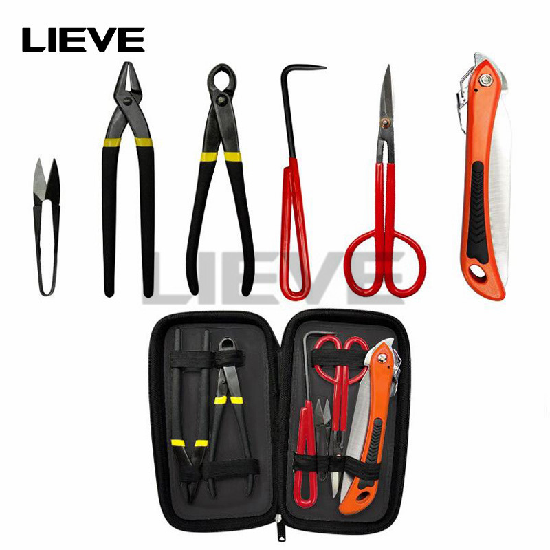 6 Piece Bonsai Tool Kit With Case, Carbon Steel Scissor Cutter Shear Set Garden Plant Tools For Home Garden Pruning Tools