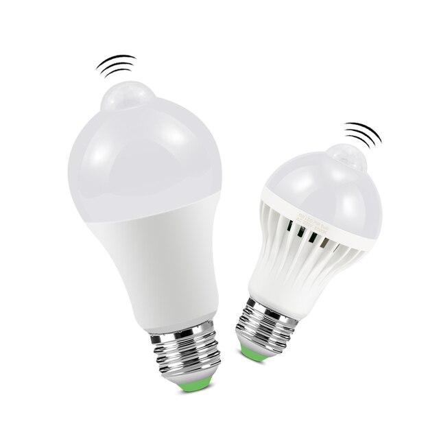 Diodo emissor de luz da noite pir sensor de luz lâmpadas corpo movimento 220 v 230 v sensor de movimento led lâmpada escadas corredor iluminação 5 w 7 9 w 12 w 18 w